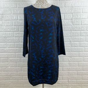 J. Crew Factory Shift Black Blue Dress 3/4 Sleeve